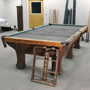Brunswick-Balke-Collender Co. Oak Pfister Six-leg Combination Pool Table