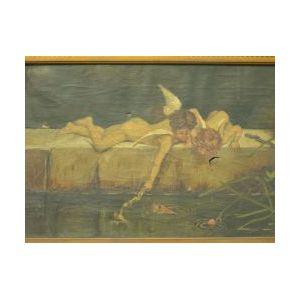 Framed Oil Allegorical Scene with Putti.