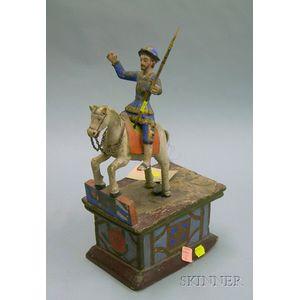 Wooden Santos Figure On Horseback On Painted Stand
