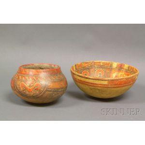 Two Pre-Columbian Polychrome Bowls