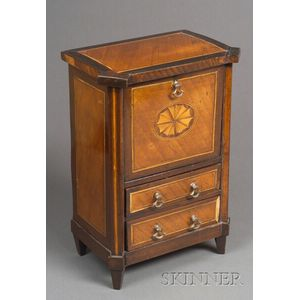 Miniature Neoclassical Inlaid Secretaire a Abattant