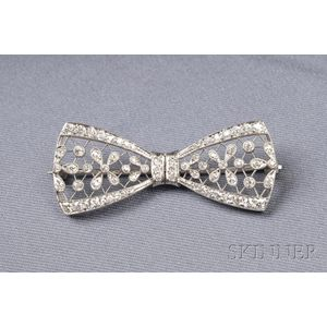 Edwardian Platinum and Diamond Bow Brooch, T.B. Starr