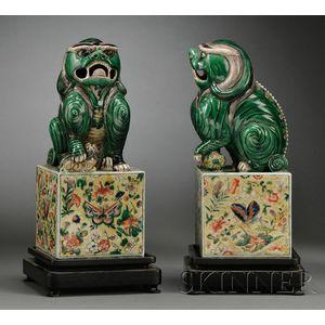 Pair of Famille Verte Foo Dogs