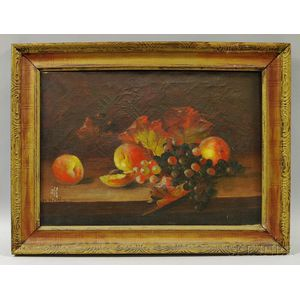 H. Willet (American, 19th Century)       Still Life with Grapes and Apples.