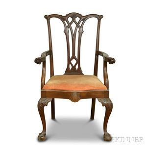 Chippendale-style Carved Mahogany Armchair
