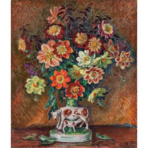 William Samuel Horton (American, 1865-1936)    Colorful Dahlias in a Staffordshire Spill Vase