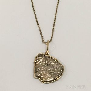 18kt Gold-mounted Silver Doubloon Pendant and 18kt Gold Chain