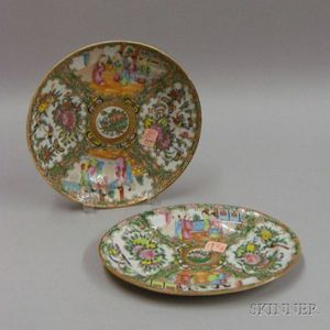 Chinese Export Porcelain Small Oval Rose Medallion Platter and Soup Plate