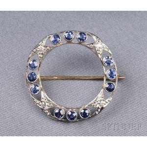 Platinum, Sapphire, and Diamond Circle Pin, Allsopp & Allsopp