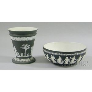 Wedgwood Black Jasper Dip Bough Pot and Salad Bowl