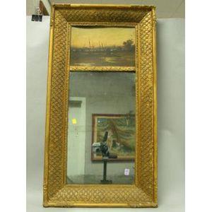 Gilt Gesso Trumeau Mirror