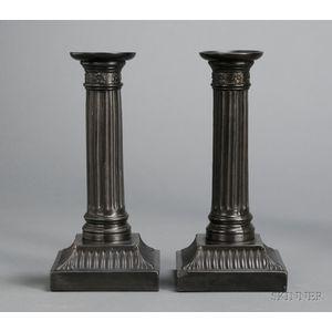 Pair of Wedgwood Black Basalt Candlesticks
