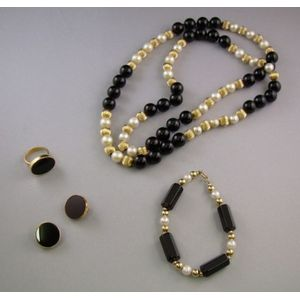 14kt Gold, Cultured Pearl, and Black Bead Necklace, Earrings, and Ring Suite