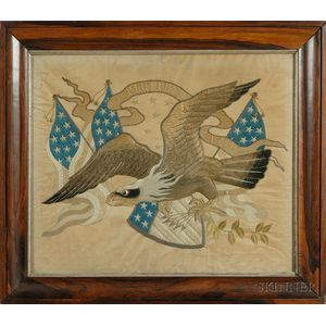 Export Silk Embroidered Patriotic Picture of an Eagle
