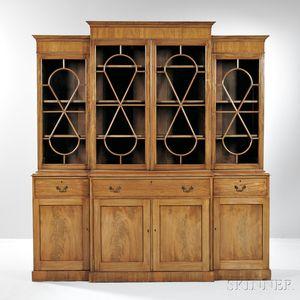 Georgian-style Mahogany Breakfront Secretary/Bookcase