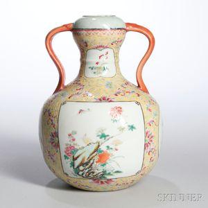 Famille Jaune Handled Vase