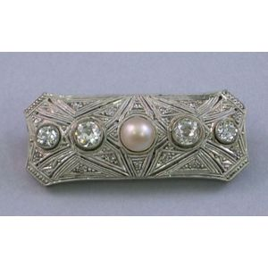 Edwardian 10kt Gold, Pearl, and Diamond Brooch