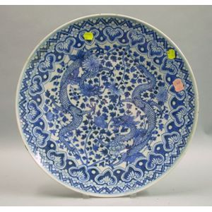 19th Century Japanese Blue and White Porcelain Charger