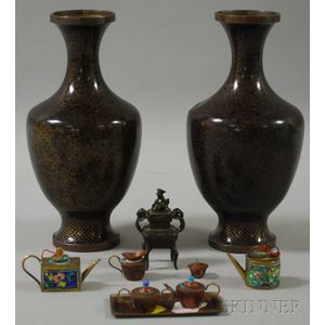 Group of Miniature Asian Metalwork Items and a Pair of Cloisonne Vases