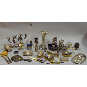 Approximately Thirty-two Sterling Silver and Plated Silver Items