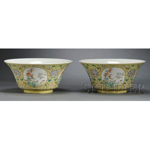 Pair of Polychrome Enameled Bowls