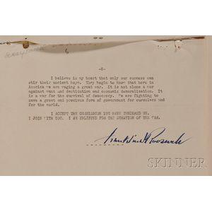 Roosevelt, Franklin Delano (1882-1945) Signed Typewritten Speech, 1936.