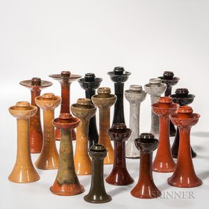 Seventeen-piece Jugtown Pottery Candlestick Collection