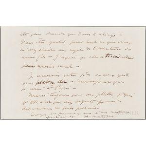 Matisse, Henri (1869-1954) Autograph Letter Signed, Vence, 19 April 1946.