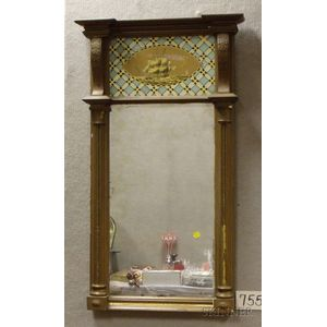 Gold-painted Federal-style Wood and Gesso Tabernacle Mirror with Eglomise Glass   Tablet