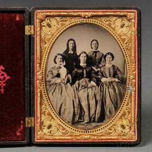 Half-plate Ambrotype Portrait of Five Sisters