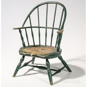 Miniature Green-painted Sack-back Windsor Armchair