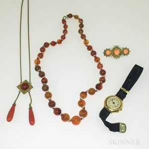 Agate Bead Necklace, Two Pieces of Coral Jewelry, and a Lady