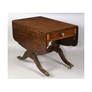 Classical Carved Mahogany Inlaid Library Table