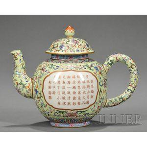 Polychrome Enameled Teapot
