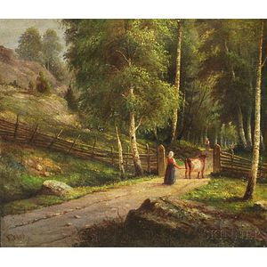 Attributed to Ernfried Wahlqvist (Swedish, 1815-1895)      Peasant Woman with a Cow on a Dirt Path.