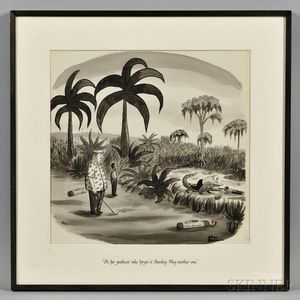 Addams, Charles (1912-1988) Original Art for a New Yorker Magazine Golfing Cartoon, 16 January 1954.
