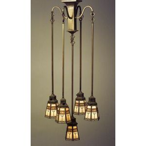 Arts and Crafts Brass Chandelier with Five Handel Overlay Shades