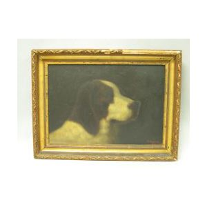 Framed Oil Dog Portrait