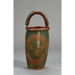 """Polychrome Paint Decorated Leather """"N. CHANDLER Concord"""" Fire Bucket"""