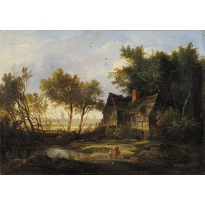 Attributed to Patrick Nasmyth (British, 1787-1831)      Lot of Two Village Scenes with Figures
