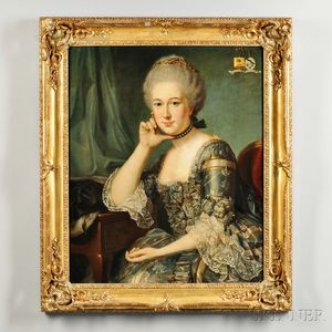 Continental School, 18th Century      Portrait of an Elegant Woman with Dutch Family Crests