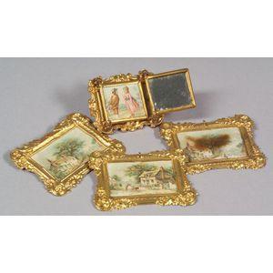 Ormolu Doll House Folding Mirror and Three Prints