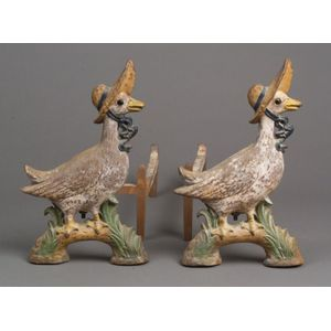 Pair of Howes Painted Cast Iron Lady Goose Andirons with Glass Eyes.