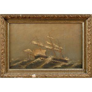American School, 19th Century      A Ship on Rough Seas.
