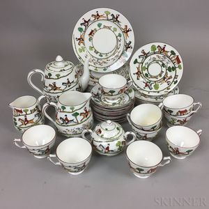 """Thirty-four Pieces of Crown Staffordshire """"Hunting Scene"""" Ceramic Tableware"""