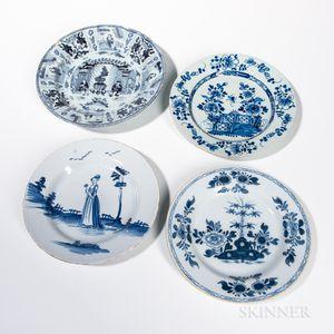 Four Delftware Plates