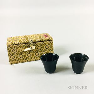 Pair of Dark Green Hardstone Wine Cups