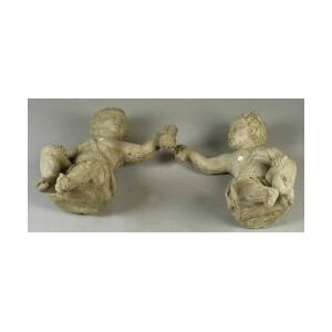 Pair of Stone Composition Putto Garden Figures