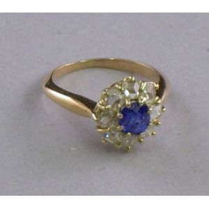 Gold, Sapphire, and Diamond Ring