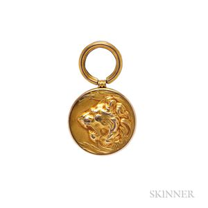 Art Nouveau Gold Lion Pendant